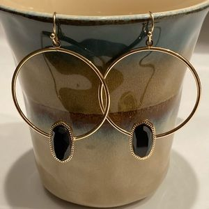 Trifari Jewelry - Black & Gold Drop Earrings